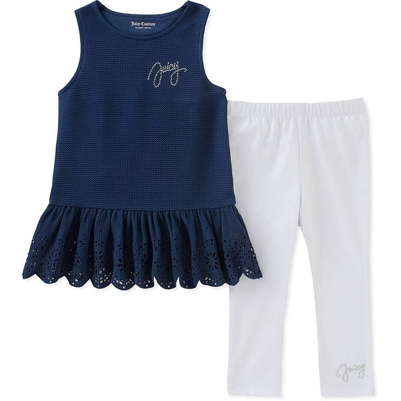 Juicy Couture Other - Juicy Couture Lace-Trim Tunic & White Leggings Set